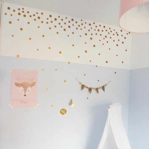 gouden stippen muurstickers meisjeskamer