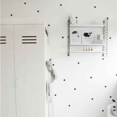 Stippen muurstickers zwart wit baby kamer