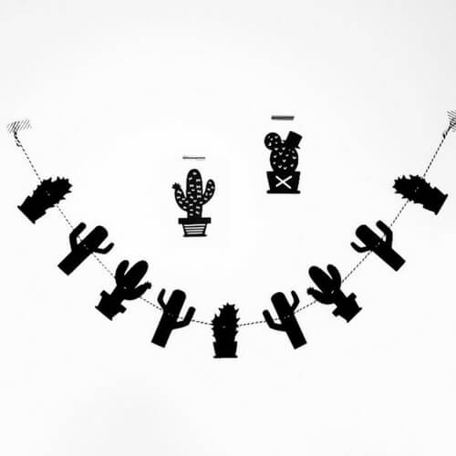 cactus slinger zwart wit wonen