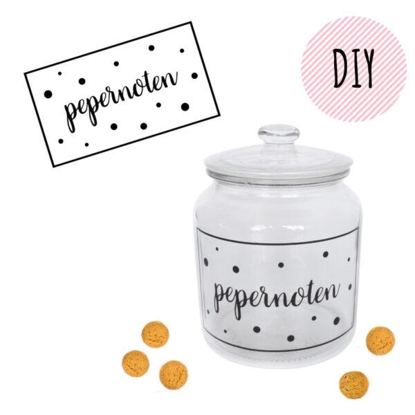 DIY sticker pepernotenpot zelfmaken