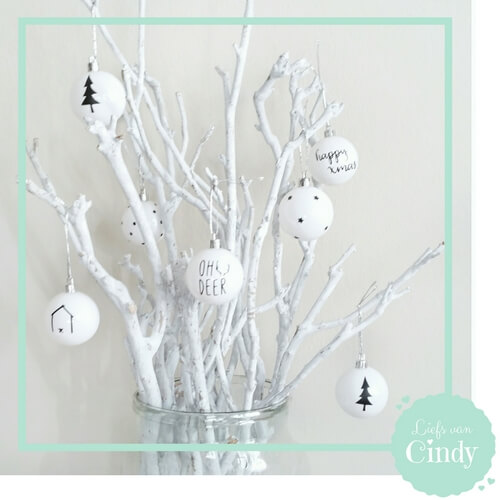 Kerstballen diy stickers