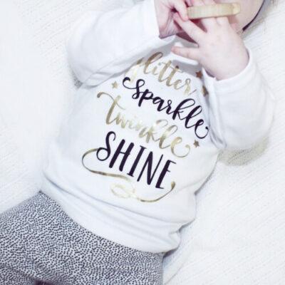 Glitter sparkle kerstshirt meisje