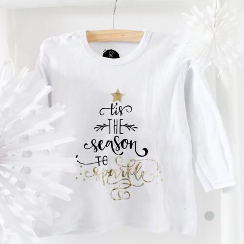 Kerst shirt wit zwart en goud