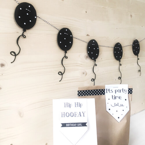Ballonnenslinger zwart wit