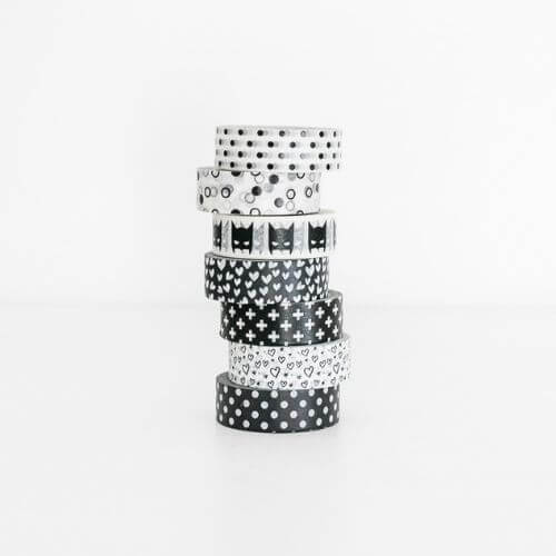 washi tape masking zwart wit liefs van Cindy