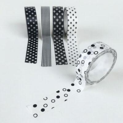 zwart witte washi tape met rondjes