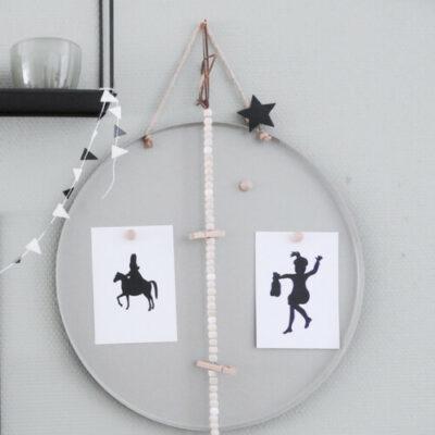 Sinterklaaskaarten zwart wit