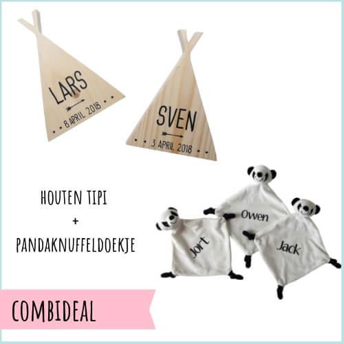 Kraamcadeau met naam tipi en panda