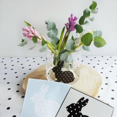 Konijn DIY paassticker, Stickers pasen konijn met stip decoratie