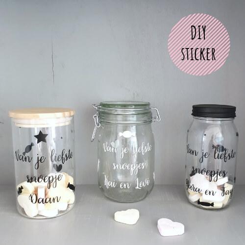 DIY Sticker vaderdag snoepjespot met naam