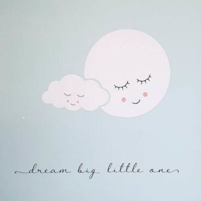 Muursticker dream big maan en wolk