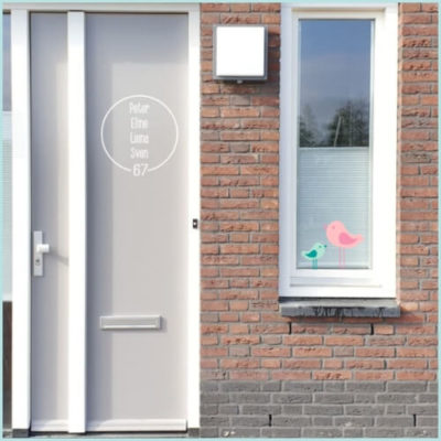 Naamsticker cirkel voordeur glas