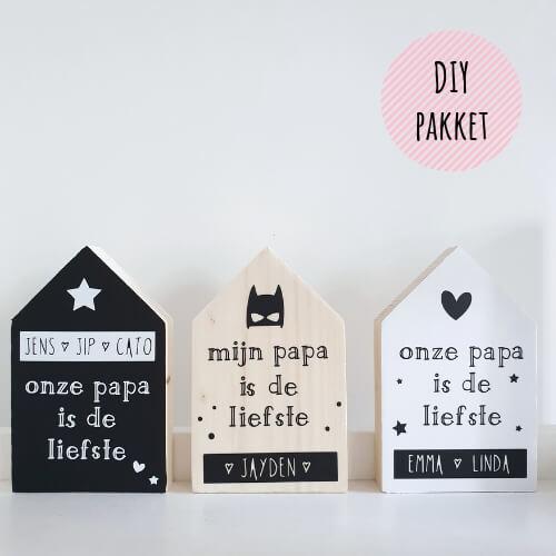 Vaderdag cadeau zelfmaken houten huisjes