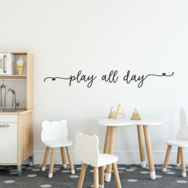 Muursticker tekst speelhoek play all day